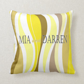 Curvy Lines yellow designer Throw Pillow