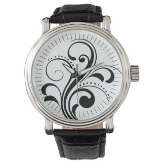Curvy Modern Swirl (black) Wristwatches