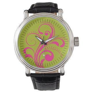 Curvy Modern Swirl (fuschia) Wristwatches