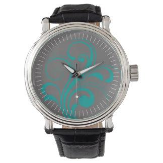 Curvy Modern Swirl (teal) Wrist Watch