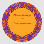 Curvy Orange Circle Bookplate Sticker