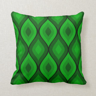 Curvy Oval Geometric | green Throw Pillow