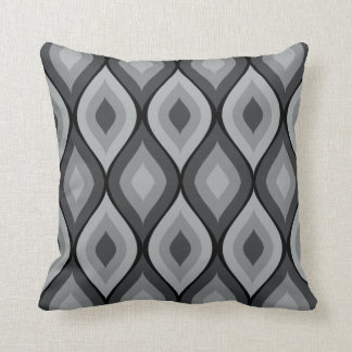 Curvy Oval Geometric | grey black Throw Pillow