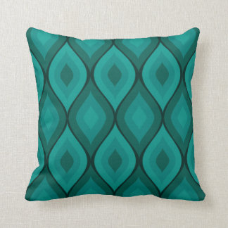 Curvy Oval Geometric   turquoise Throw Pillow