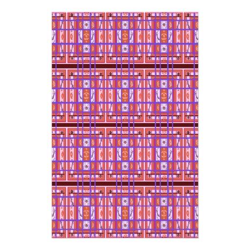 Curvy Plaid Pattern Stationery Paper