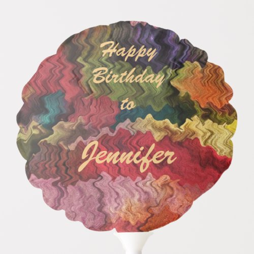 Curvy Rainbow Abstract Pattern Birthday Balloon.Easily personalize or remove the text on this colorful balloon which features an image of a contemporary abstract fabric pattern in wavy psychedelic rainbow colors of pink, red, yellow, orange, green, blue, brown, mauve, purple and turquoise which resembles a painter's palette..