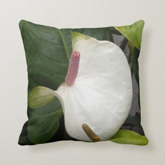 Curvy White Anthurium Throw Pillow