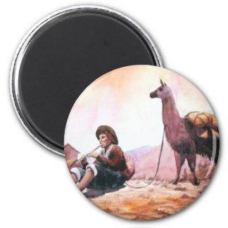 Cusco Peru Llama Picture 2 Inch Round Magnet