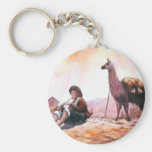 Cusco Peru Llama Picture Basic Round Button Keychain