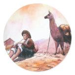 Cusco Peru Llama Picture Round Stickers