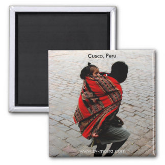 Cusco, Peru, mother and child 2 Inch Square Magnet
