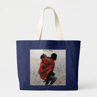 Cusco, Peru, mother and child Large Tote Bag