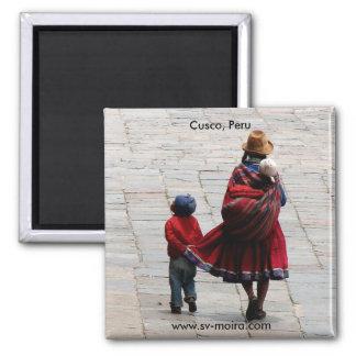 Cusco, Peru, mother and children 2 Inch Square Magnet