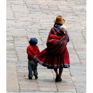 Cusco, Peru, mother and children Cutout