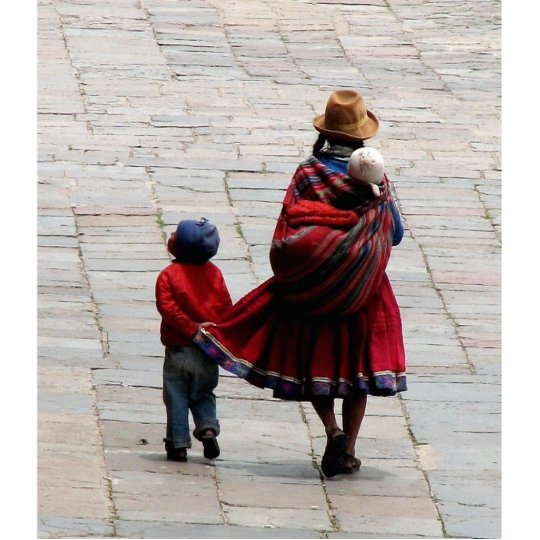 Cusco, Peru, mother and children Cutout