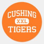 Cushing - tigres - High School secundaria - Cushin Pegatina Redonda