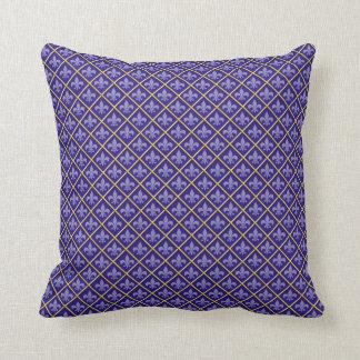 Cushion - Blue Fleur de Lys and Gold design Pillow
