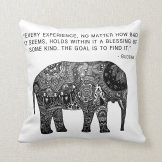 Cushion Buddha Henna Elephant Wisdom Throw Pillow