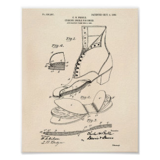Cushion Insole Shoes 1906 Patent Art Old Peper Poster
