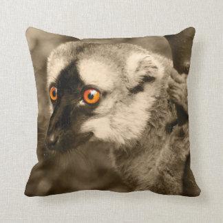 Cushion lemur sepia throw pillow