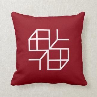 """Cushion Red """"Blue Shape"""" Throw Pillow"""
