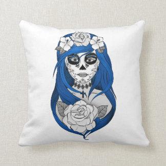 Cushion Santa muerte, Blue