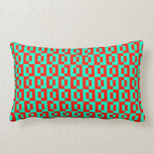 Cushion Tiles Design in Turquoise and Red Orange Throw