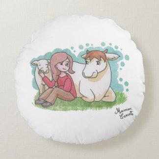 Cushion vegan: girl, calf and cow