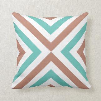 Cushion X Café and Aqua Throw Pillow