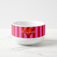 CusHot Pink, Red Stripes, Red Metallic Heart Monog Soup Mug