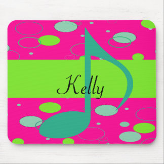 Cusom Name Sixteenth Note on Polka Dots Mousepad