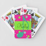 Cusom Name Sixteenth Note on Polka Dots Poker Deck