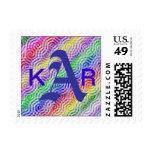 Cusom tMonogram Letter A Rainbow  Design Sticker Postage Stamp