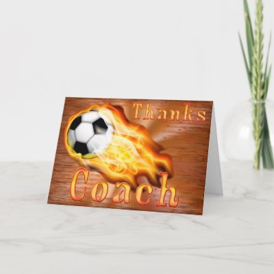 Custom Cool Flaming Soccer Coach Thank You Card