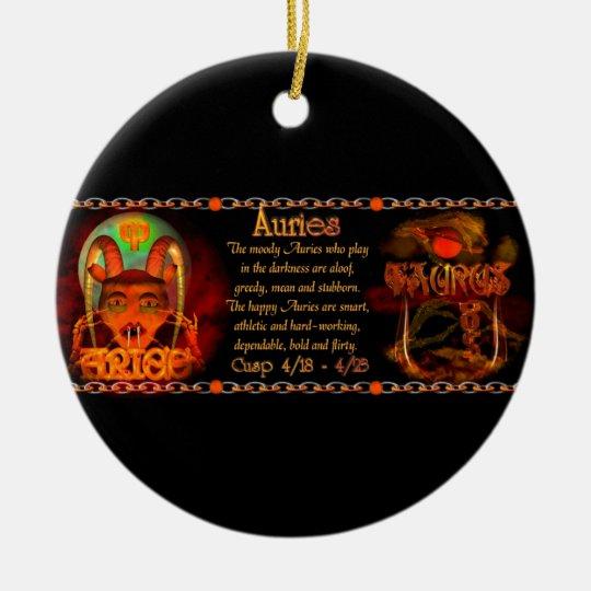 Cusp of Aries Taurus zodiac astrology Valxart.com Ceramic Ornament