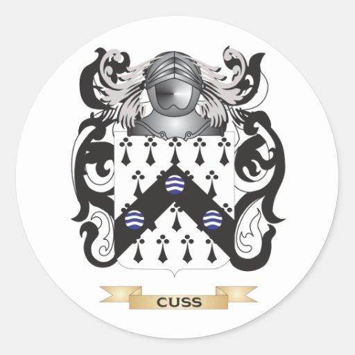 Cuss Coat of Arms Round Sticker