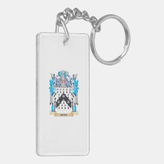 Cuss el escudo de armas - escudo de la familia llavero rectangular acrílico a doble cara