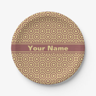 Custard and Marsala Nested Octagon Paper Plate 7 Inch Paper Plate
