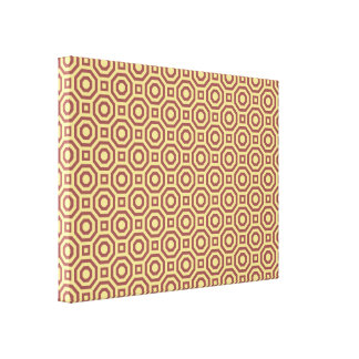 Custard and Marsala Nested Octagon Wrapped Canvas