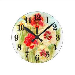 Custard Candy and Mango Orange Day Lilies Round Clock