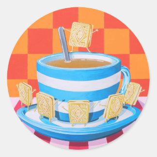 Custard Cream Tea Round Sticker