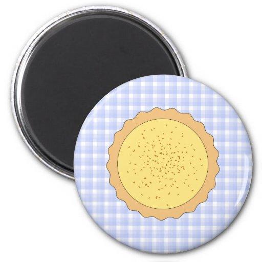 Custard Pie. Yellow Tart, with Blue Gingham. 2 Inch Round Magnet