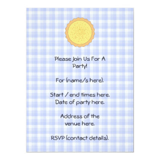 Custard Pie. Yellow Tart, with Blue Gingham. 6.5x8.75 Paper Invitation Card