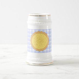 Custard Pie. Yellow Tart, with Blue Gingham. Beer Stein