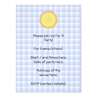 Custard Pie. Yellow Tart, with Blue Gingham. Card