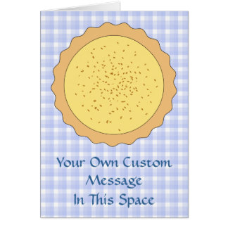 Custard Pie. Yellow Tart, with Blue Gingham. Greeting Card
