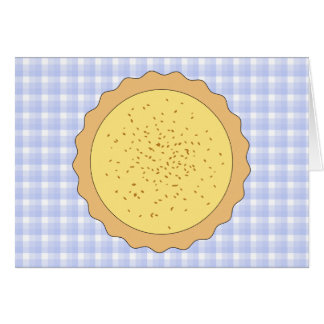 Custard Pie. Yellow Tart, with Blue Gingham. Stationery Note Card