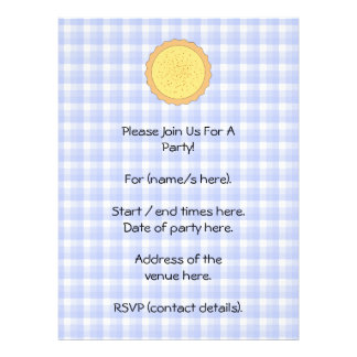 Custard Pie Yellow Tart with Blue Gingham Personalized Invitations