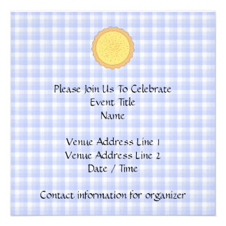 Custard Pie Yellow Tart with Blue Gingham Personalized Invite
