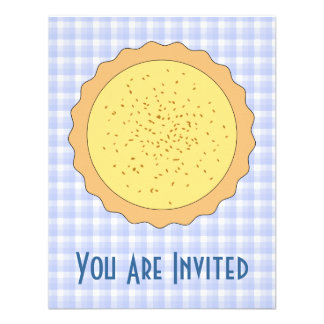 Custard Pie Yellow Tart with Blue Gingham Personalized Announcement
